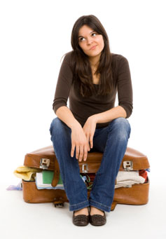 woman packed for holidays