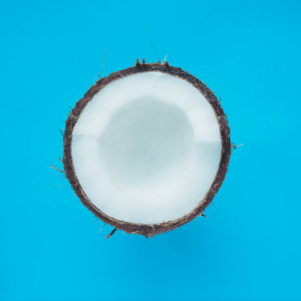 Coconut on Blue Background